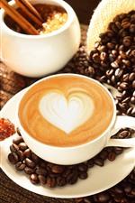 iPhone обои Кофе, любовь сердце, кофейные зерна, хлеб, еда