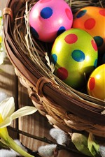 Preview iPhone wallpaper Daffodils, Easter, colorful eggs, nest