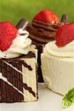 Preview iPhone wallpaper Dessert, cake, cream, strawberry, chocolate
