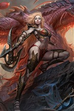 Preview iPhone wallpaper Dragons of Eternity, girl, dragon, warrior, axe, art picture