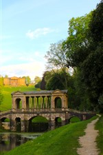 Preview iPhone wallpaper England, trees, river, path, Buckinghamshire, Palladian Bridge