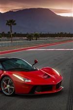 Supercari Vermelho Ferrari Laferrari, vista lateral, estrada, crepúsculo