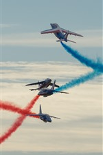 Preview iPhone wallpaper Flight show, planes, red and blue smoke
