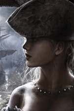 Preview iPhone wallpaper Girl, face, braid, hat, ship, art picture