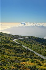 Preview iPhone wallpaper Mountain, slope, road, clouds, blue sky