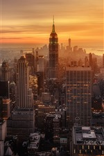 Preview iPhone wallpaper New York, evening, sunset, skyscrapers, city, USA