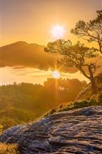 Noruega, Hordaland, árvores, montanhas, lago, nascer do sol, amanhecer