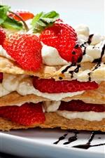 iPhone壁紙のプレビュー 1つのスライスケーキ、イチゴ、クリーム、食品