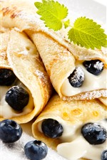 Preview iPhone wallpaper Pancake rolls, cream, blueberries