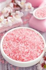 Preview iPhone wallpaper Pink soap granules, flowers, towel, SPA