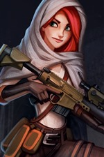 Preview iPhone wallpaper Red hair girl, green eyes, weapon, gun, art picture