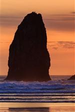 Aperçu iPhone fond d'écranRochers, mer, coucher de soleil, côte, silhouette