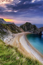 Preview iPhone wallpaper Sea, beach, arch, grass, clouds, dusk