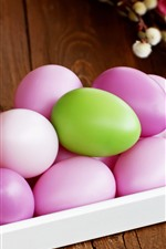 Preview iPhone wallpaper Some pink Easter eggs, one green