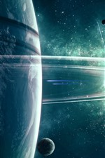 Espaço, planeta, satélite, anel, estrelas, brilhar