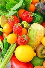 Preview iPhone wallpaper Strawberry, lemon, tomato, vegetables