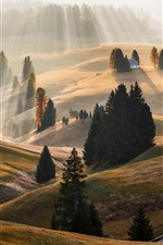 Preview iPhone wallpaper Sun rays, hills, morning, Alps, trees, houses, fog