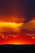 Pôr do sol, céu vermelho, nuvens, silhueta