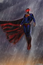 Preview iPhone wallpaper Superman, rain, sky, art picture