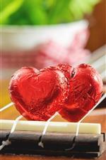 Dois, amor, coração, doces, guitarra, romântico
