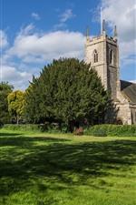 預覽iPhone桌布 英國,教堂,草,草甸,樹,夏天
