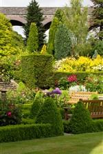 Preview iPhone wallpaper UK, garden, bushes, trees, flowers, meadow, bridge, bench