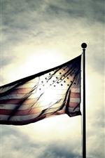 Bandeira, Sol, Céu, Nuvens