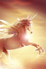 Preview iPhone wallpaper Unicorn, wings, horn, art picture