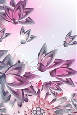 Preview iPhone wallpaper Vector flowers, shine, creative design