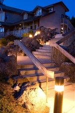 Preview iPhone wallpaper Villa, house, ladder, lights, steps, night