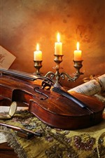 Preview iPhone wallpaper Violin, candle, flame, wine