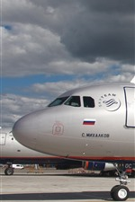 Preview iPhone wallpaper Airbus A321 passenger airplane, airport