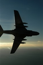 Preview iPhone wallpaper Airplane, sunshine, sky, sea, silhouette