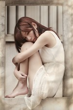 Preview iPhone wallpaper Asian girl, sadness, window, wall