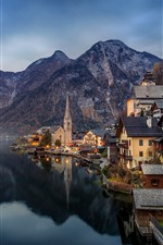 Austria, Hallstatt, water reflection, mountains, lake, town, lights