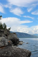 Preview iPhone wallpaper Baikal Lake, water, stones, mountains, sky, clouds