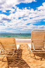 Beach, chairs, sea, clouds, sky