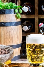 Preview iPhone wallpaper Beer, foam, barrel, green hops