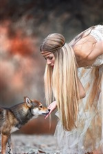 Preview iPhone wallpaper Blonde girl and dog, skirt, autumn