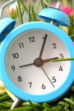 iPhone壁紙のプレビュー 青い目覚まし時計、ピンクの花