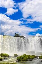 Preview iPhone wallpaper Brazil, Iguazu Falls, waterfalls, stream, grass, sky, clouds