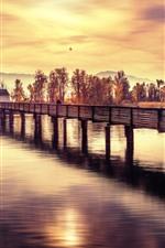 iPhone壁紙のプレビュー 橋、川、木、夕日