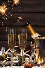 iPhone обои Шампанское, золотые, стеклянные чашки, искры, с новым годом