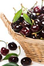 Cherries, fruit, basket, white background