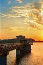 Preview iPhone wallpaper City, bridge, river, sunset, sky, clouds
