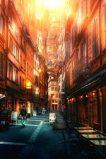 Preview iPhone wallpaper City, street, buildings, glare, HDR style