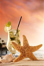 Preview iPhone wallpaper Cocktail, starfish, box, beach, shell, sea, sunset
