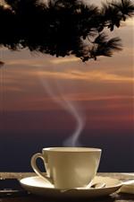 iPhone обои Кофе, чашка, книга, дерево, закат