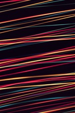 Preview iPhone wallpaper Colorful lines, black background, abstract design