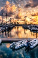 iPhone壁紙のプレビュー ドック、ボート、海、雲、夕日